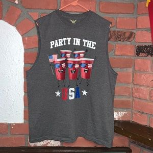 Faded Glory Party In The USA 4th July Tank Top L